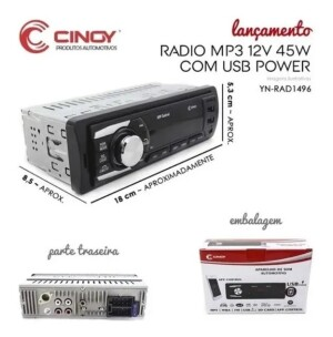 Foto2 - RÁDIO AUTOMOTIVO CINOY MP3-BLUETOOTH YN-RAD1496