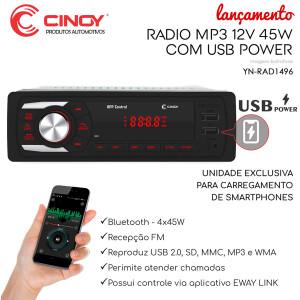 RÁDIO AUTOMOTIVO CINOY MP3-BLUETOOTH YN-RAD1496