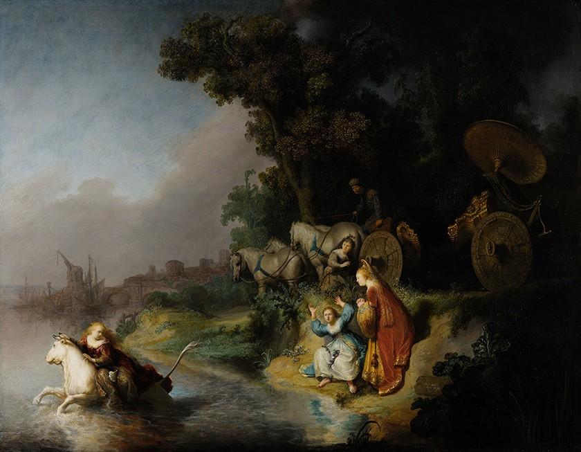 Foto 1 - A Abdução de Europa Deusa Raptada por Zeus Mitologia Pintura de Rembrandt em TELA