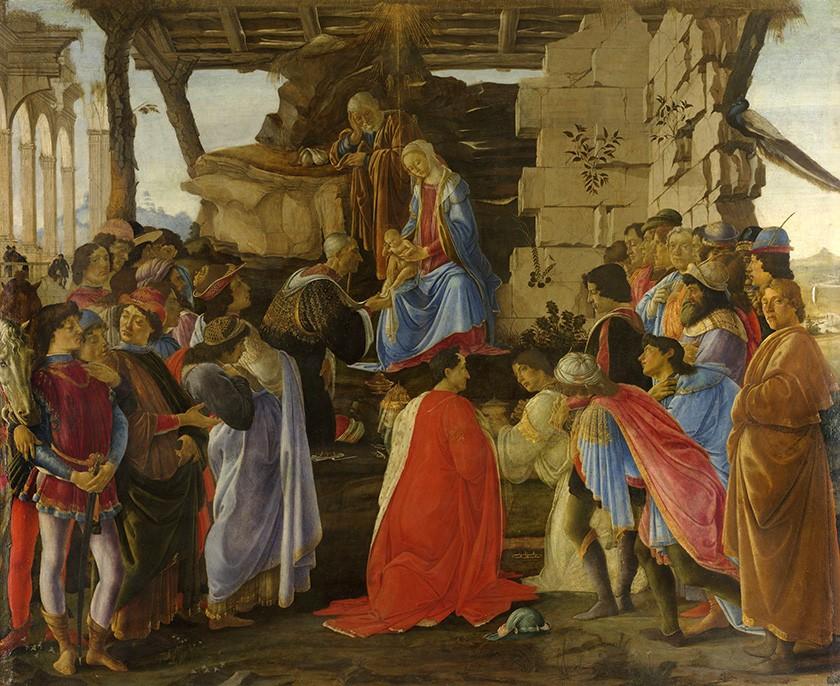Foto 1 - A Adoração dos Magos Menino Jesus Nascimento de CristoRelato Bíblico Pintura deSandro Botticelli em TELA