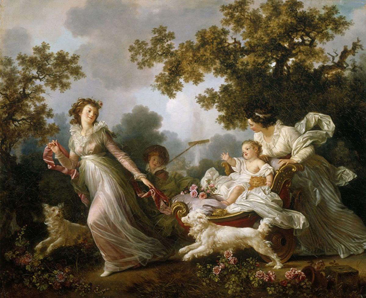 Foto 1 - A Amada Criança Alegrias da Maternidade Mãe Puxando Bebê no Carrinho Cachorros FamíliaJardim 1780Pintura de Jean-Honoré Fragonard em TELA
