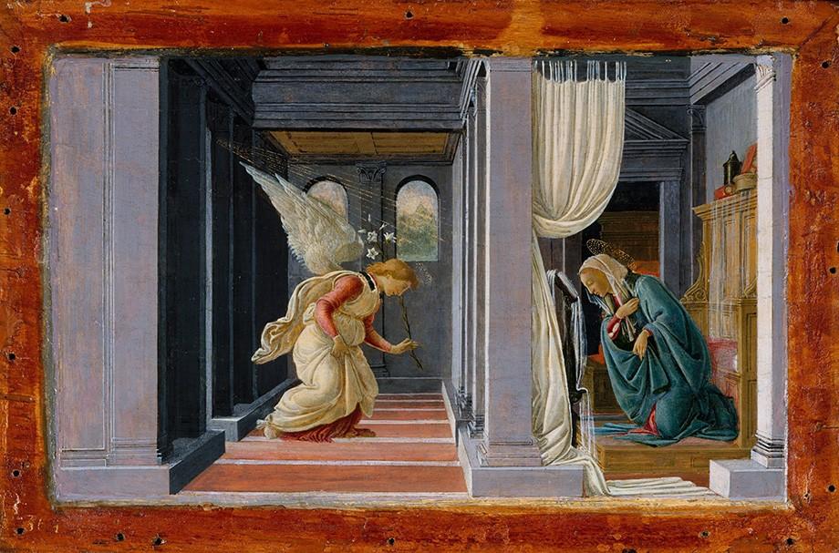 Foto 1 - A Anunciação Anjo Gabriel Virgem Maria Ajoelhada em Humildade Pintura deSandro Botticelli em TELA