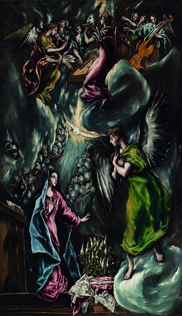Foto 1 - A Anunciação Maria Anjo Gabriel Espírito Santo Anjos Tocando Música Pintura de El Greco em TELA
