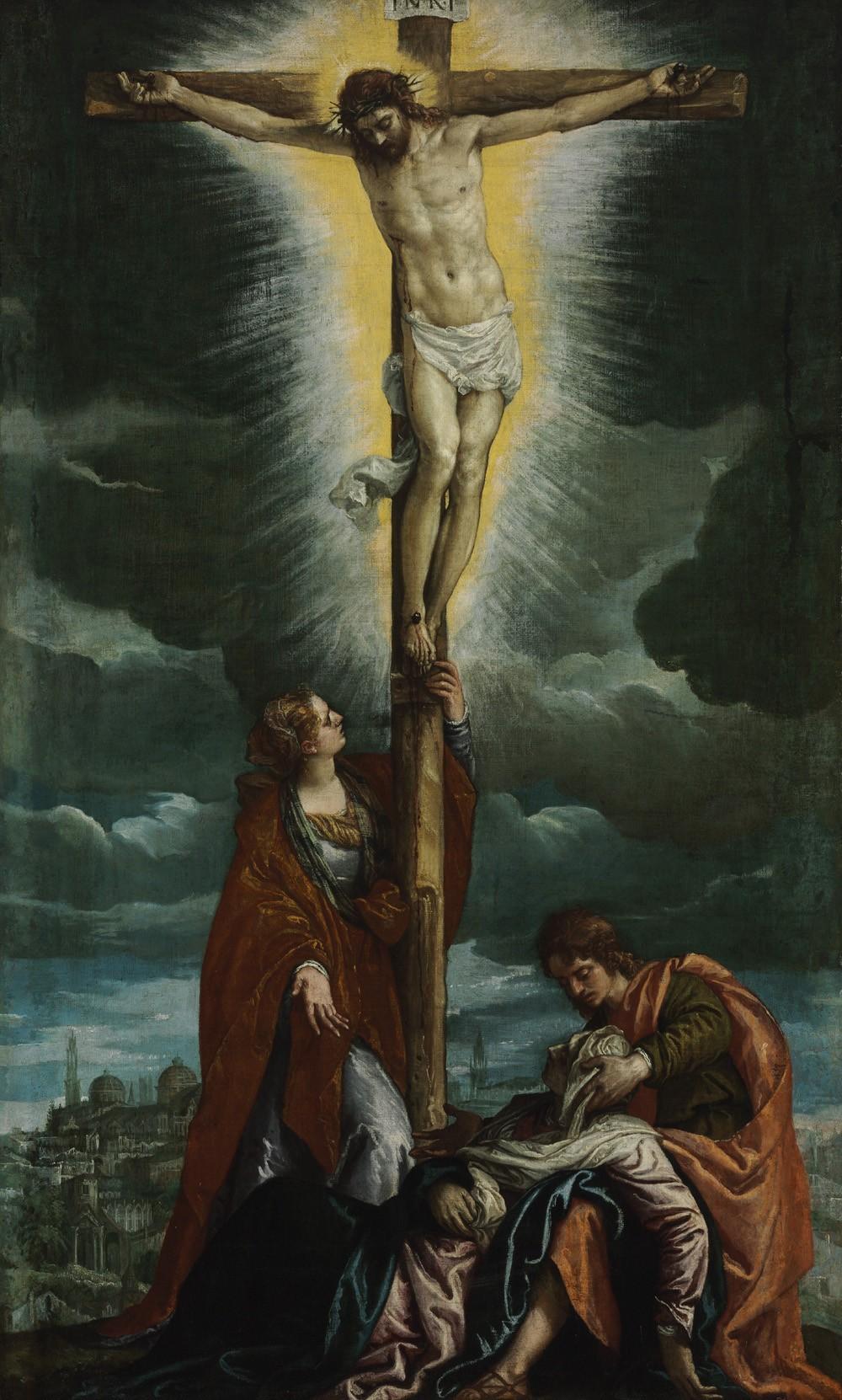 Foto 1 - A CrucificaçãoCristo na Cruz Maria Madalena e Maria DesmaiadaPintura dePaolo Veronese em TELA