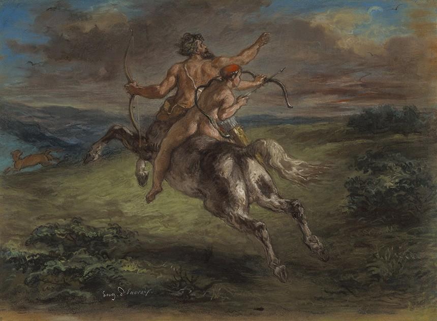 Foto 1 - A Educação de Aquiles Herói da Mitologia Grega Cavalganas Costas do Centauro Quíron Pintura de Eugène Delacroix em TELA
