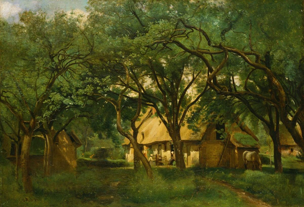 Foto 1 - A Fazenda da Tia Toutain em Honfleur Árvores Cavalo Paisagem 1845 França Pintura de Camille Corot em TELA