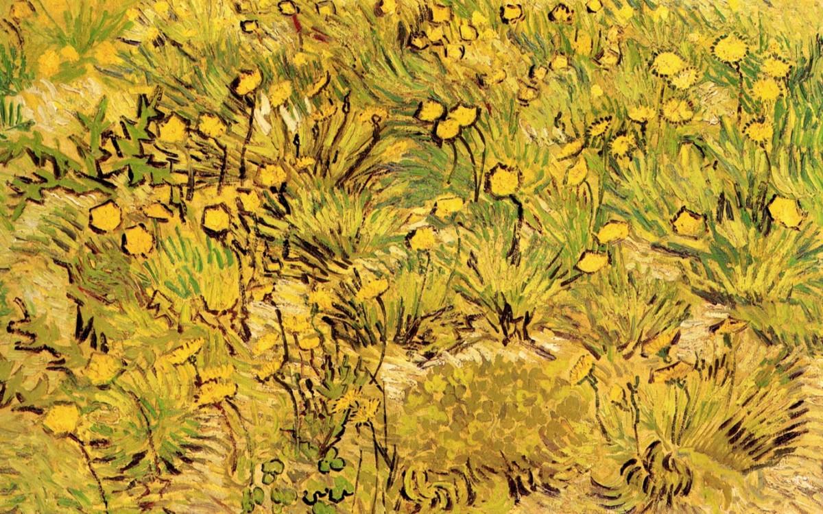Foto 1 - A Field of Yellow Campo de Flores Amarelas Flowers Pintura de Vincent Van Gogh em TELA