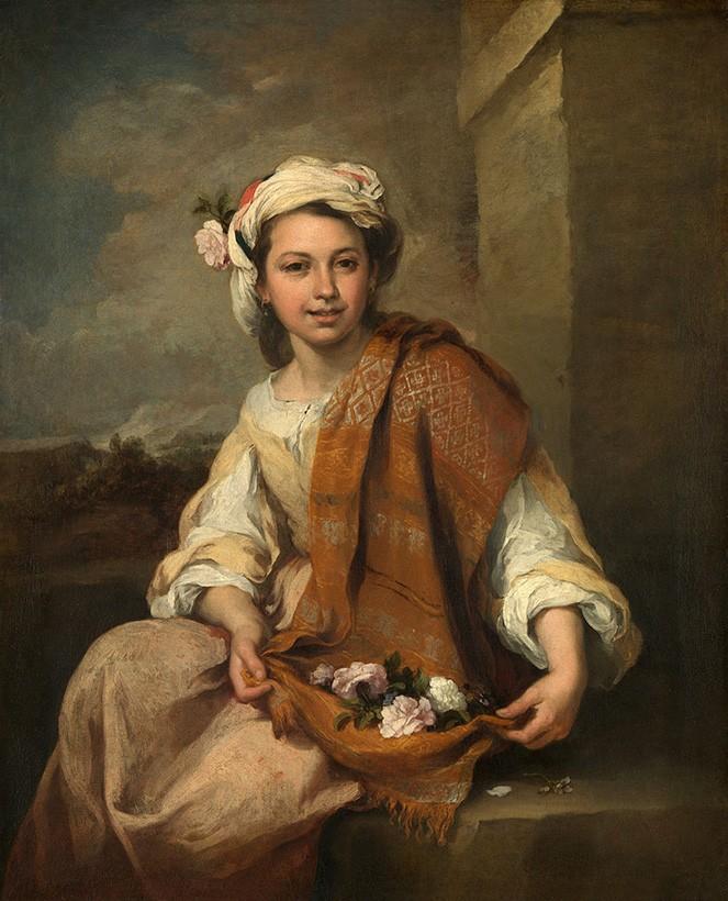 Foto 1 - A Garota das Flores Pintura de Murillo em TELA