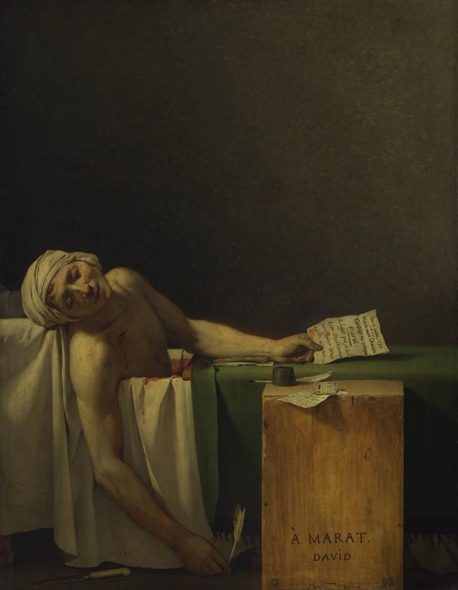 Foto 1 - A Morte de Marat Revolucionário Francês Assassinado Revolução Francesa Pintura de Jacques-Louis David em TELA