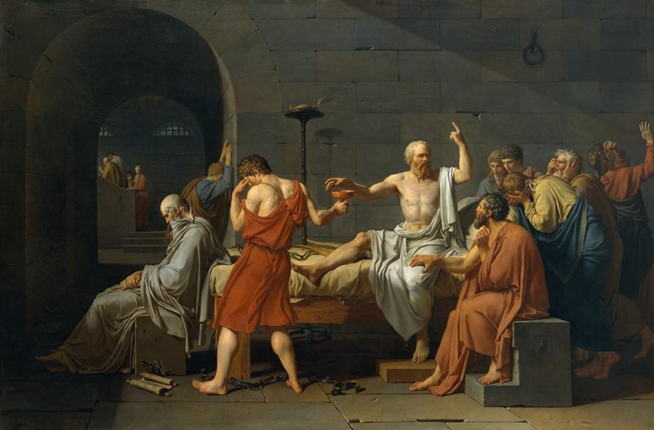 Foto 1 - A Morte de Sócrates Filósofo Grego Condenado a Beber Cicuta VenenoPintura de Jacques-Louis David em TELA
