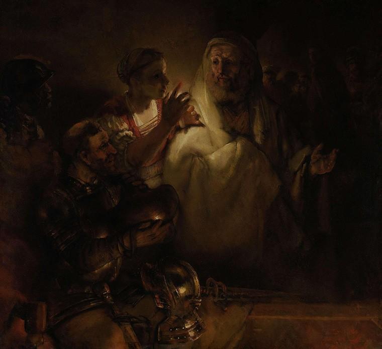 Foto 1 - A Negação de Pedro Apóstolo Evangelho Pintura de Rembrandt em TELA