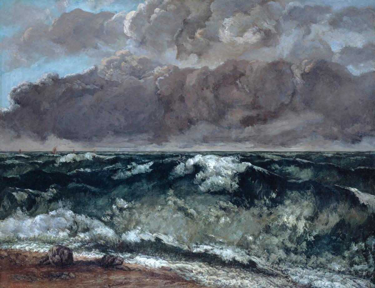 Foto 1 - A Onda do Mar Quebrando na Costa Pintura de Gustave Courbet em TELA