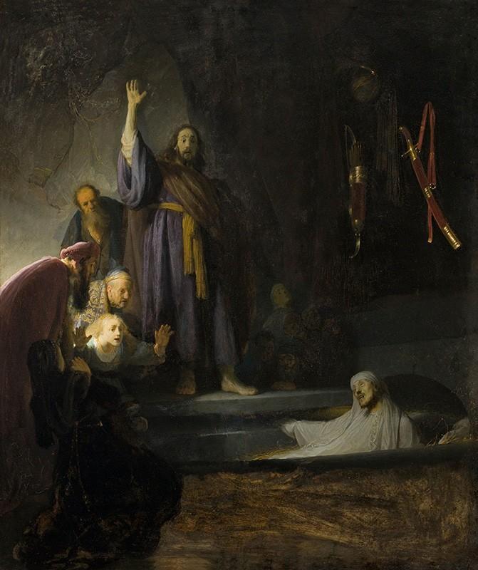 Foto 1 - A Ressurreição de Lázaro Milagre Religião Pintura de Rembrandt em TELA