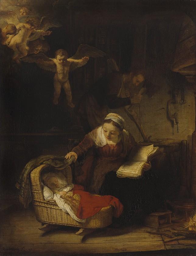 Foto 1 - A Sagrada Família Maria Ninando Menino JesusJoséCarpinteiro Anjos Pintura de Rembrandt em TELA