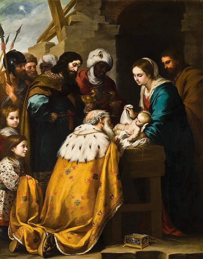 Foto 1 - AAdoração dos Reis Magos Pintura de Murillo em TELA
