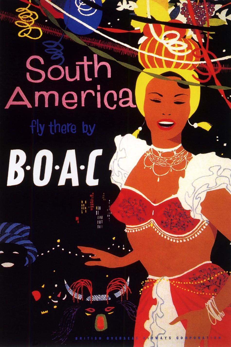 Foto 1 - America do Sul Brasil Carnaval Ferias Viagem Praia Vintage Cartaz Poster em Papel Matte