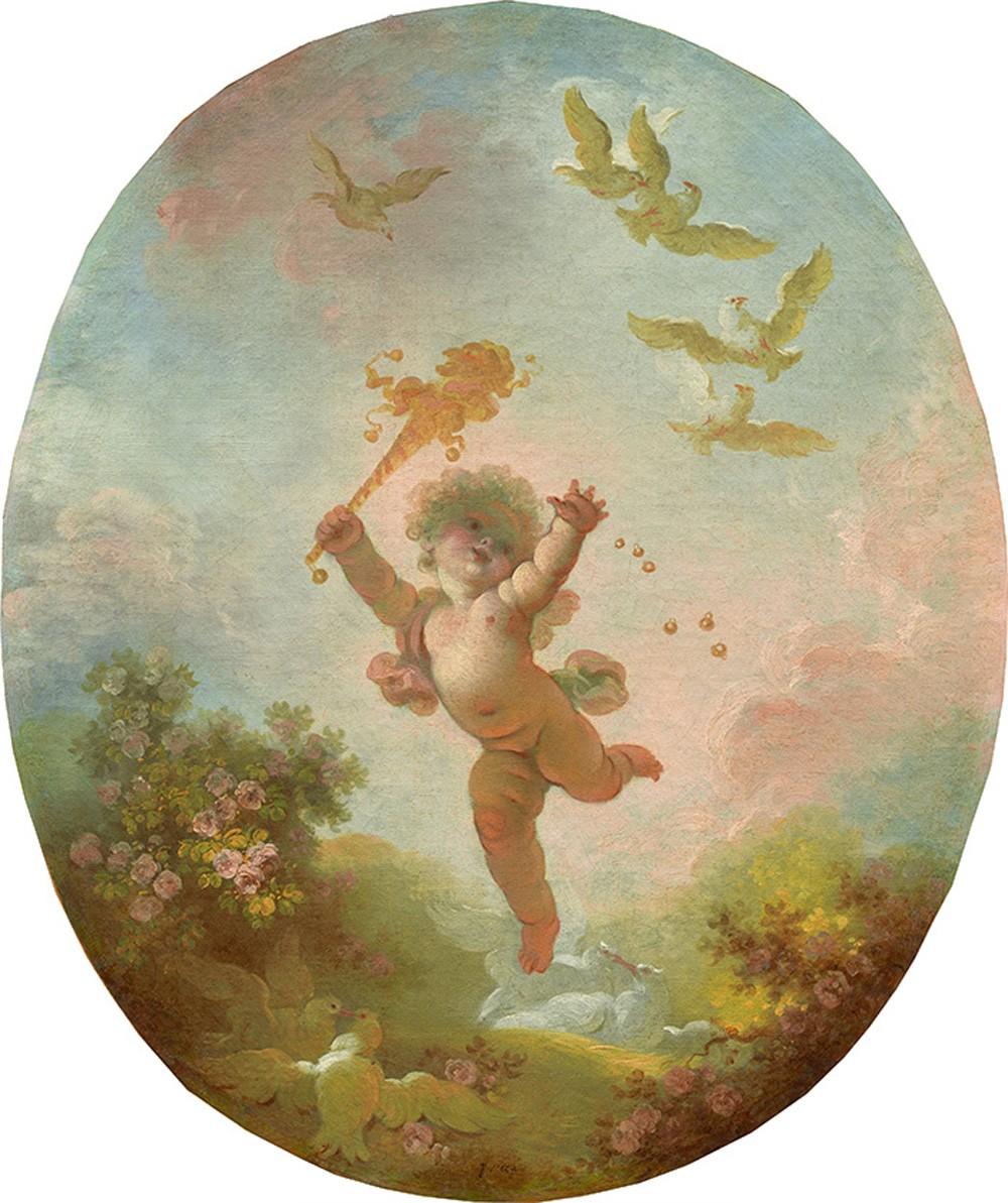 Foto 1 - Amor O Irracional Cupido Gordinho Voando Alegremente pelo ArPássaros Namorando FloresPintura de Jean-Honoré Fragonard em TELA