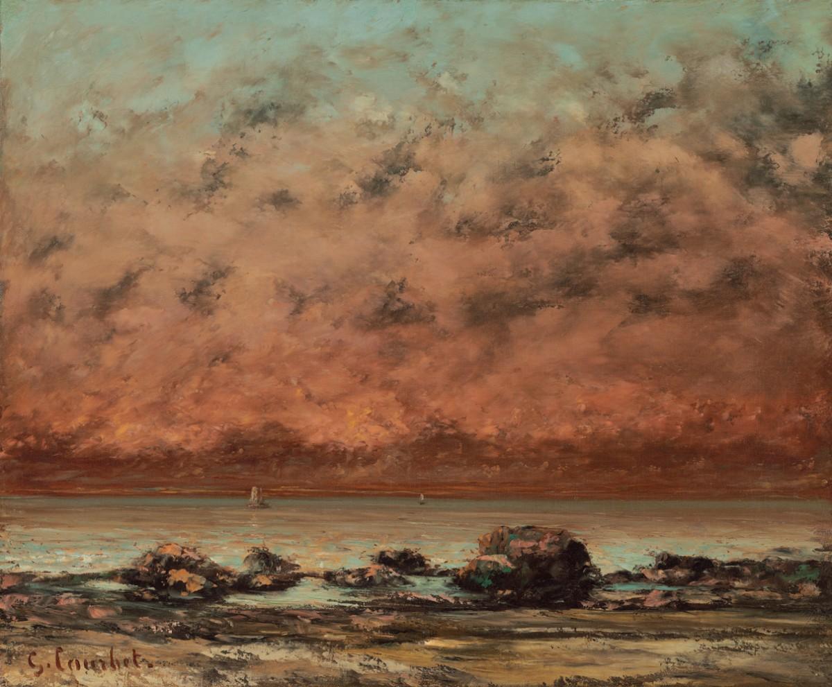 Foto 1 - As Rochas Negras em Trouville Litoral Mar Pôr do Sol Paisagem 1865França Pintura de Gustave Courbet em TELA