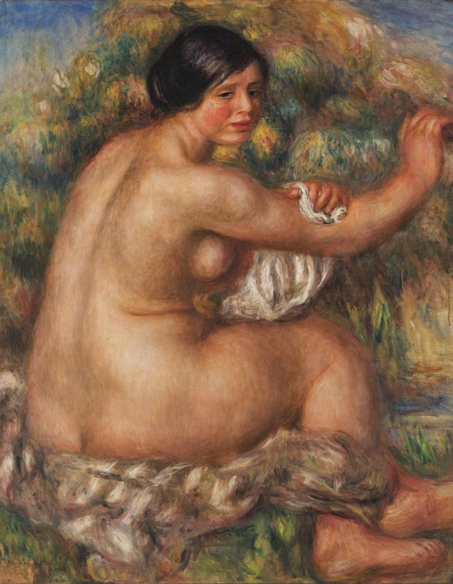 Foto 1 - Banhista Enxugando o Braço Direito Grande Nu SentadoMulher Nua Pintura de Pierre Auguste Renoir em TELA