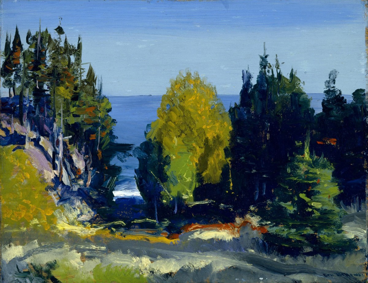 Foto 1 - Bosque na Ilha Monhegan Maine Paisagem Vista Mar Pintura de George Bellows em TELA