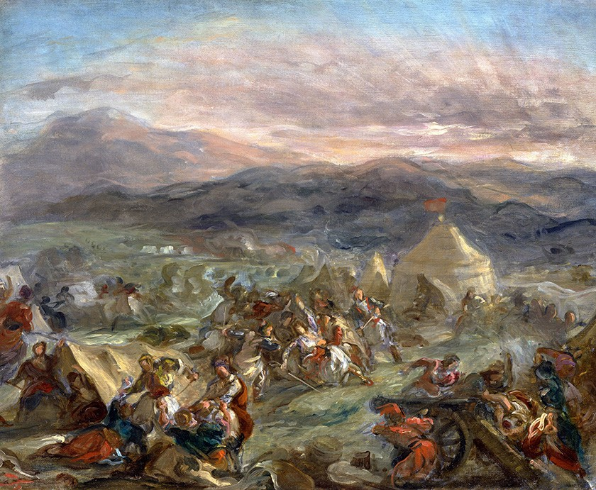 Foto 1 - Botzaris Surpreende o Acampamento Turco e Cai Fatalmente FeridoÁrabes Batalha 1862 Pintura de Eugène Delacroix em TELA