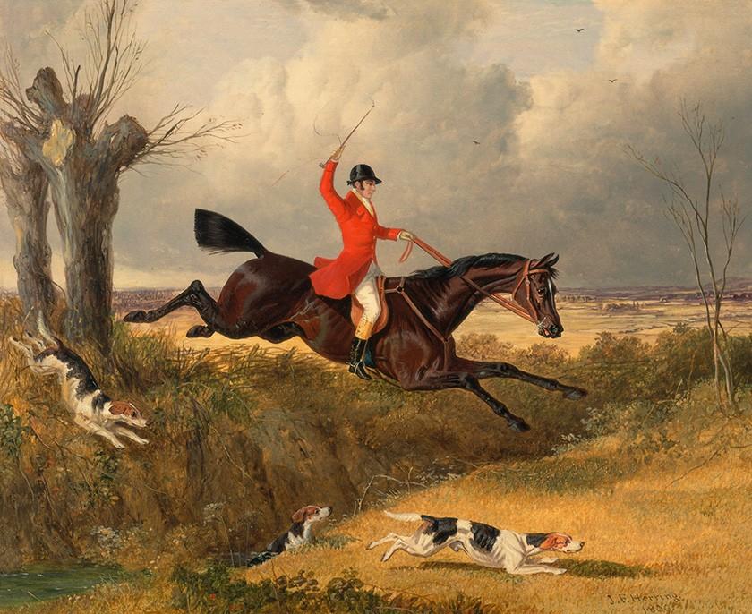 Foto 1 - Caça à RaposaCães e Cavalo Pulando Vala Pintura de John Frederick Herring em TELA