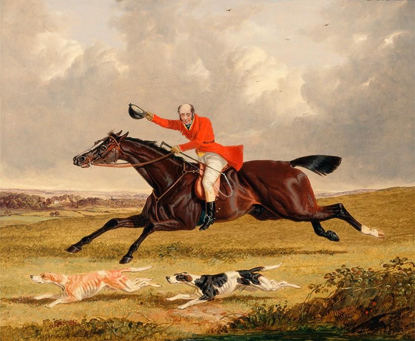 Foto 1 - Caçada Cavaleiro em seu Cavalo Encorajando Cães de Caça Pintura de John Frederick Herring em TELA