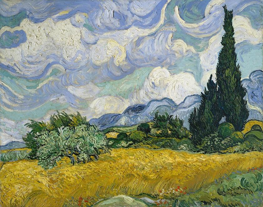 Foto 1 - Campo de Trigo com Ciprestes Pintura de Vincent van Gogh em TELA