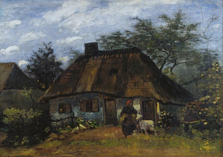 Foto 1 - Casa de Fazenda em Nuenen Holanda Mulher e Bezerro Pintura de Vincent van Gogh em TELA
