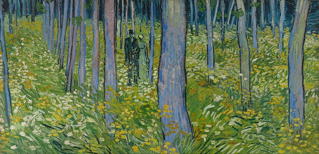 Foto 1 - Casal Passeando entre Árvores Vegetação Rasteira Flores Pintura de Vincent van Gogh em TELA