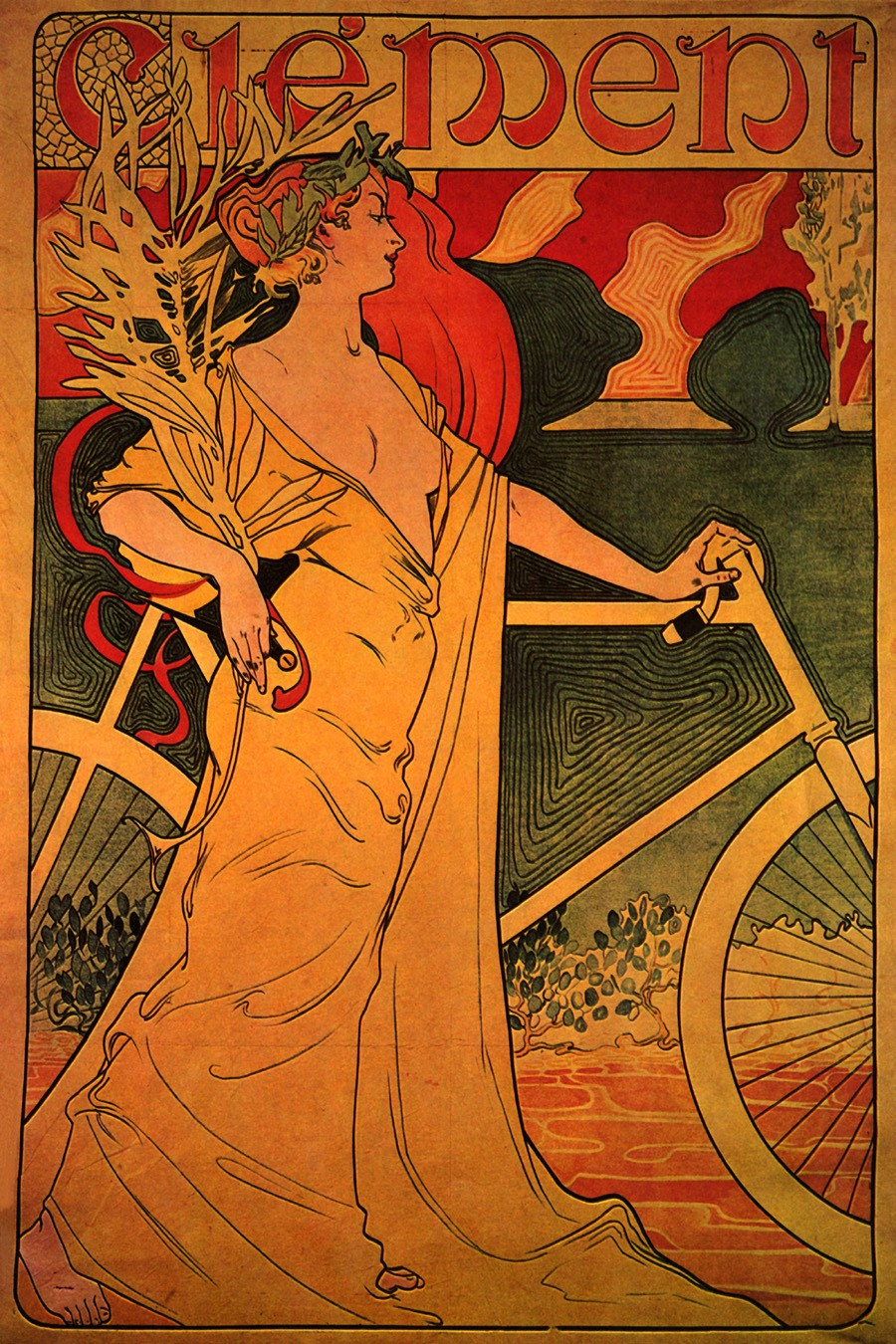 Foto 1 - Clement Mulher BicicletaVintage Cartaz Poster em Papel Matte