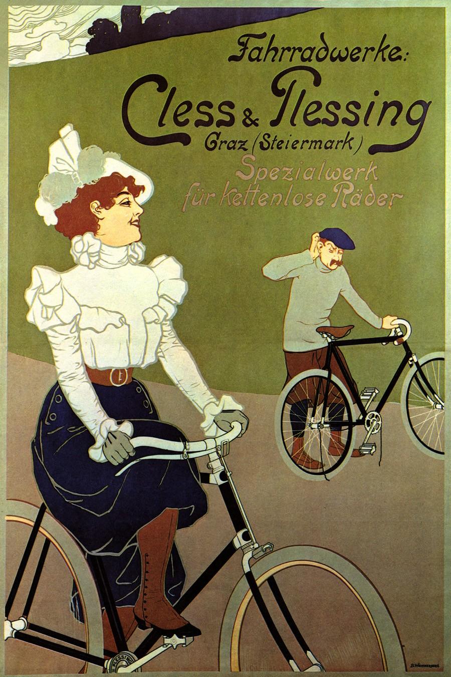 Foto 1 - Cless Plessing Casal AndandoBicicletaVintage Cartaz Poster em Papel Matte