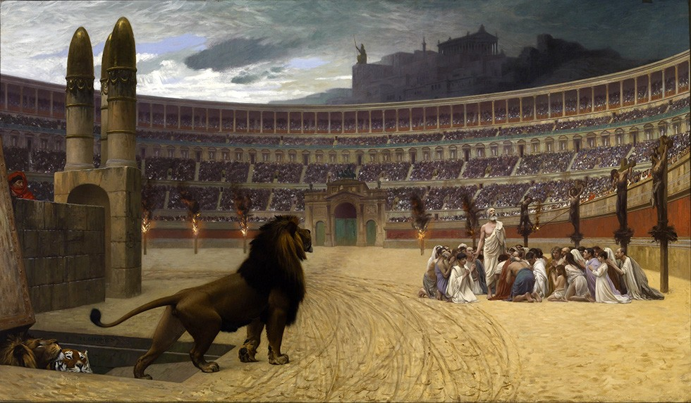 Foto 1 - Cristãos Rezando Arena Coliseu LeãoLast Prayer Pintura de Gerome em TELA