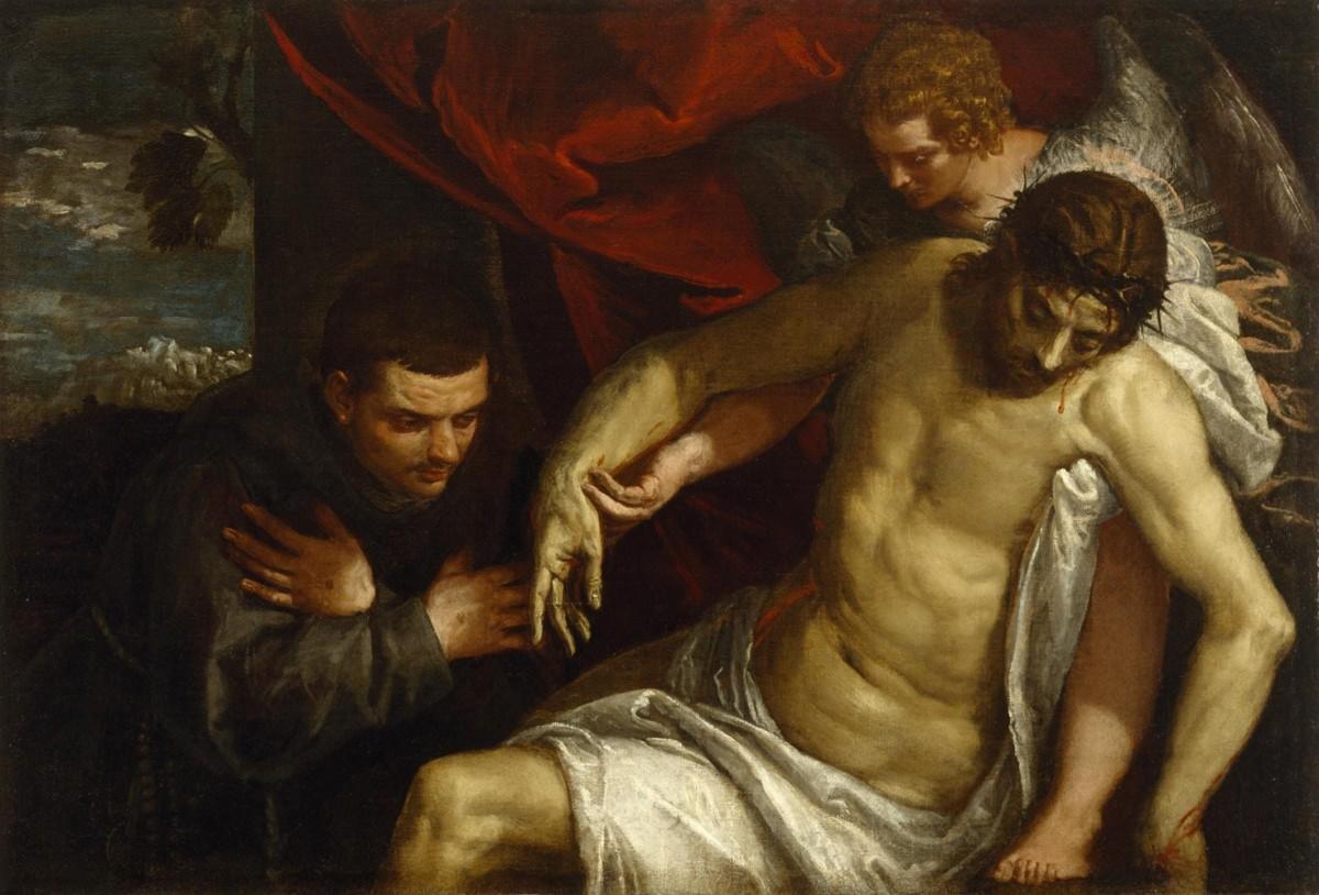 Foto 1 - Cristo Morto Apoiado por um Anjo e Adorado por um FranciscanoPintura dePaolo Veronese em TELA