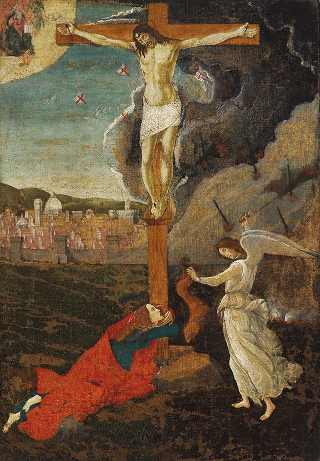Foto 1 - Crucificação Mística Jesus na Cruz Madalena Anjo Pintura deSandro Botticelli em TELA