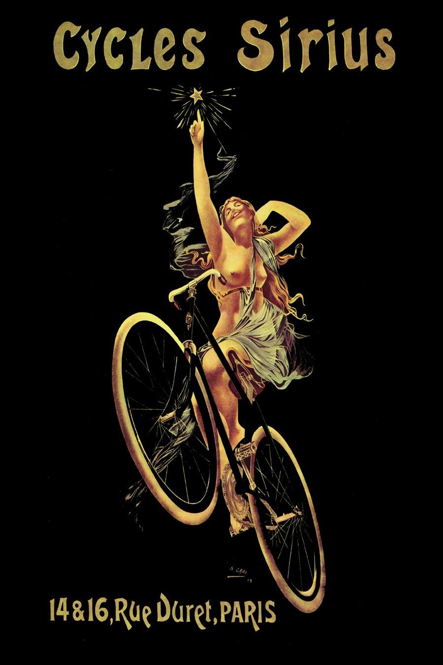 Foto 1 - Cycle Sirius Paris França Bicicleta Mulher NuaVintage Cartaz Poster emPapel Matte