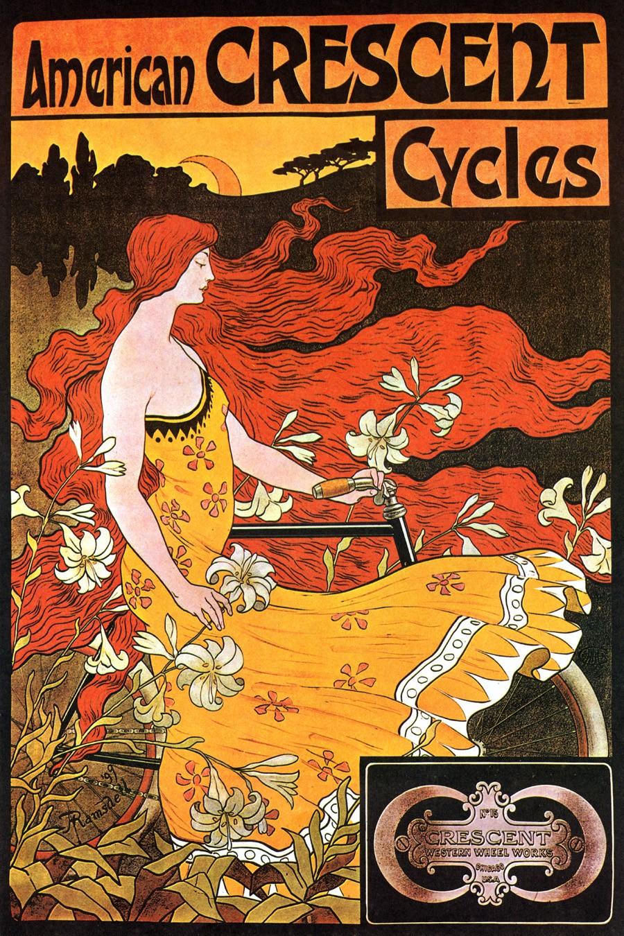 Foto 1 - Cycles American Crescent Garota Ruiva BicicletaVintage Cartaz Poster em Papel Matte