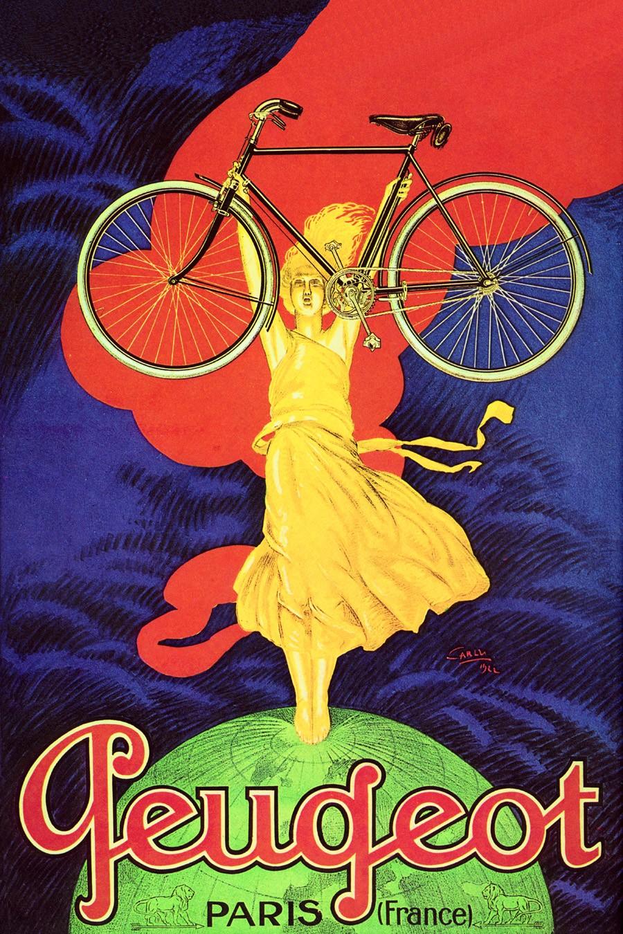 Foto 1 - Cycles Peugeot Paris Globo Garota LoiraBicicletaVintage Cartaz Poster em Papel Matte