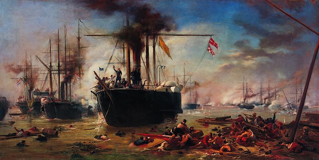 Foto 1 - Estudo para a Batalha Naval de Riachuelo Pintura de Victor Meirelles em TELA