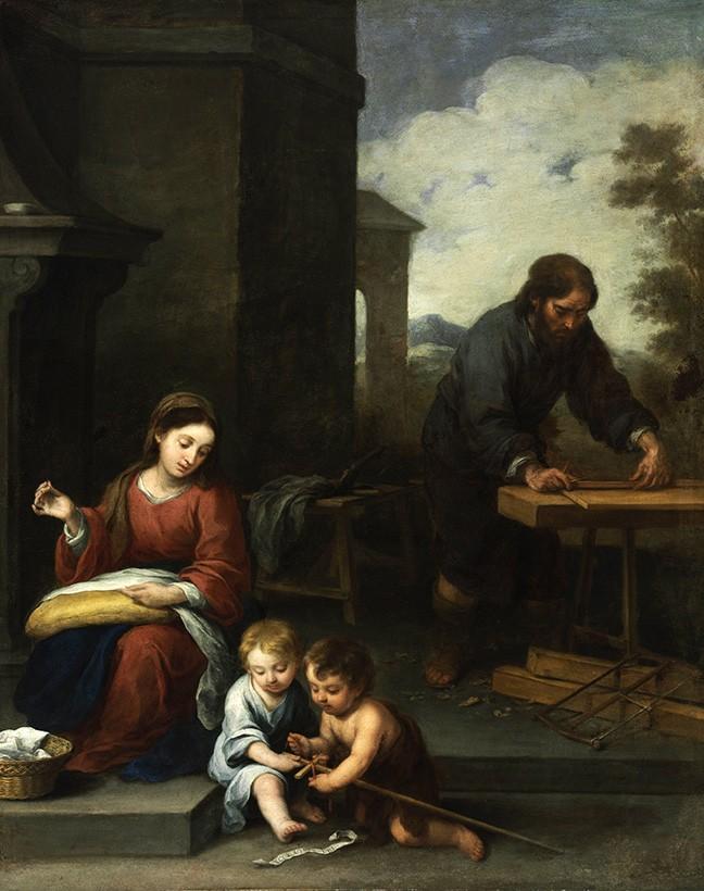 Foto 1 - Familia Sagrada com São João Pintura de Murillo em TELA