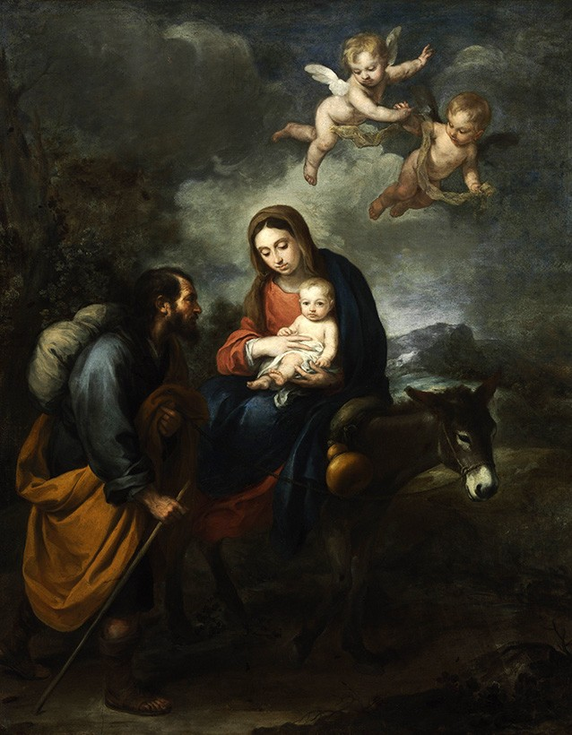 Foto 1 - Familia Sagrada Jesus Maria Jose info para Egito com Anjos Pintura de Murillo em TELA