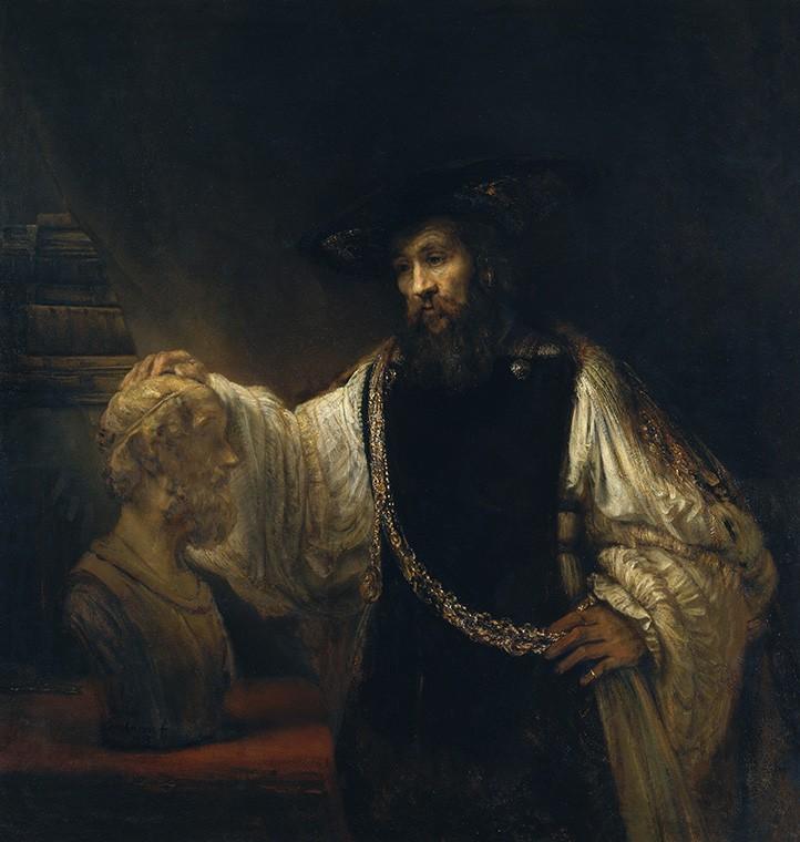 Foto 1 - Filósofo Grego Aristóteles Contemplandoum Busto de Homeroo Poeta Épico Pintura de Rembrandt em TELA
