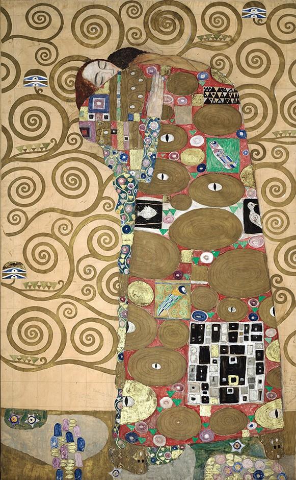 Foto 1 - Fulfillment Lovers Amor Amantes Abraço Pintura de Gustav Klimt em TELA