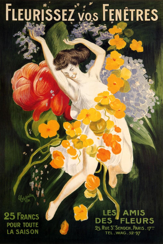 Foto 1 - Garota Flores Rosas Primavera em Paris de Cappiello Vintage Cartaz Poster em Papel Matte