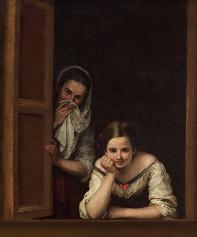 Foto 1 - Garotas Mulheres na Janela NamoroPintura de Murillo em TELA