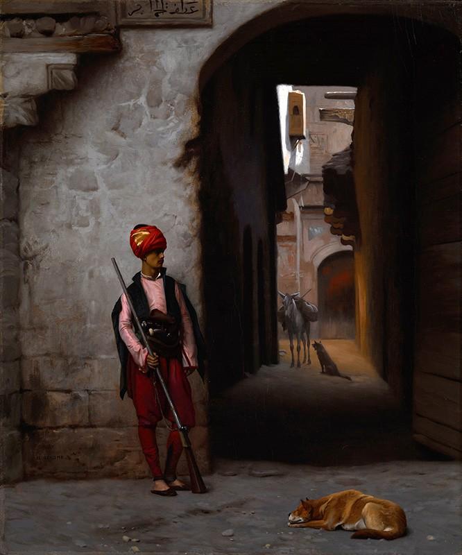 Foto 1 - Guarda Arabe , CachorroPintura de Gerome em TELA