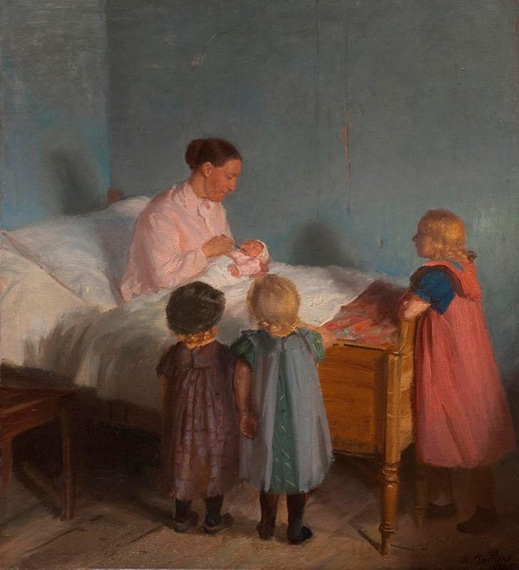 Foto 1 - Irmão mais Novo Crianças Observando a Mãecom o BebêPintura de Anna Ancher em TELA