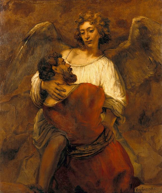 Foto 1 - Jacob Lutando com o Anjo Pintura de Rembrandt em TELA