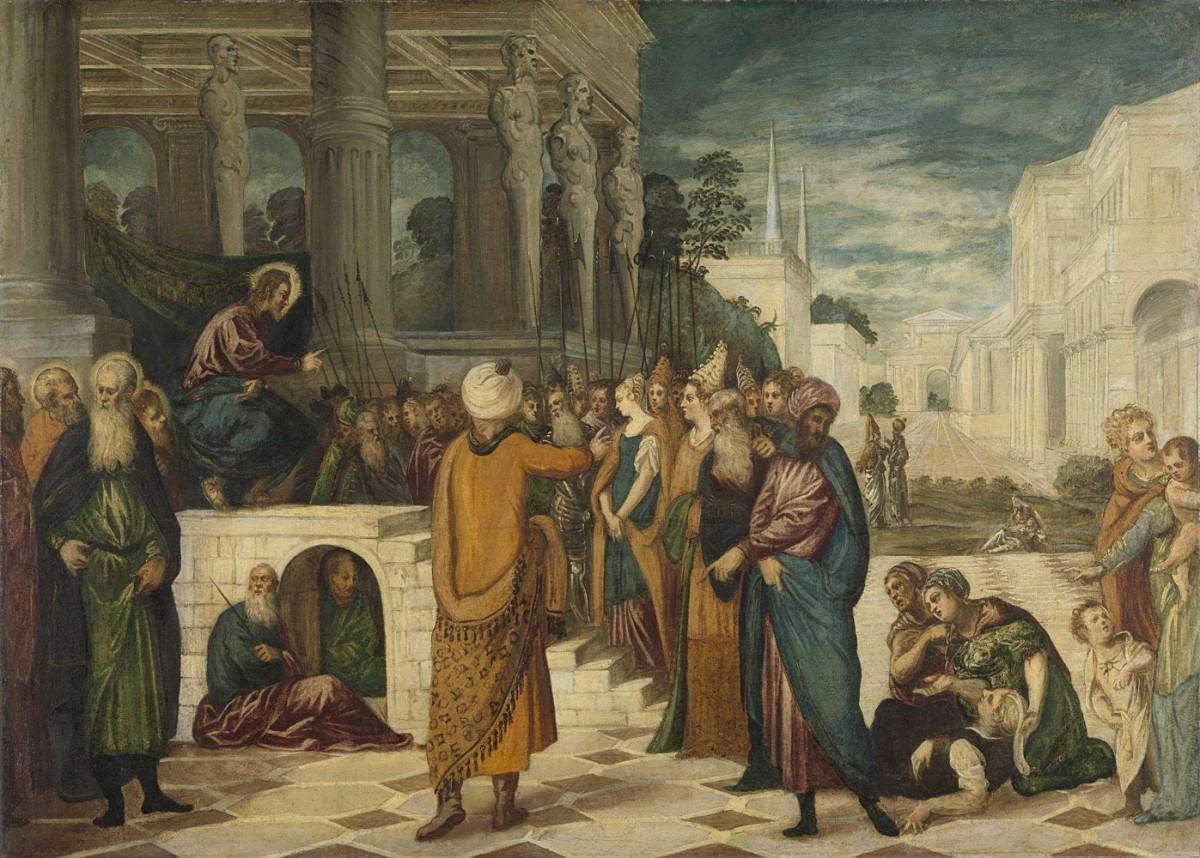 Foto 1 - Jesus com a Mulher Adúltera Episódio BíblicoPintura deTintoretto em TELA