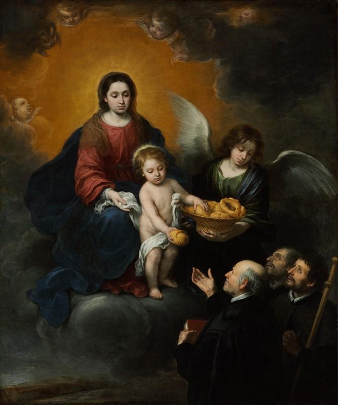 Foto 1 - Jesus Cristo Criança distribuindo PãesAnjo Virgem Maria Pintura de Murillo em TELA